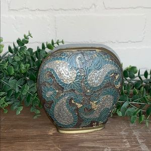 Brass vase cold painted paisley patterned